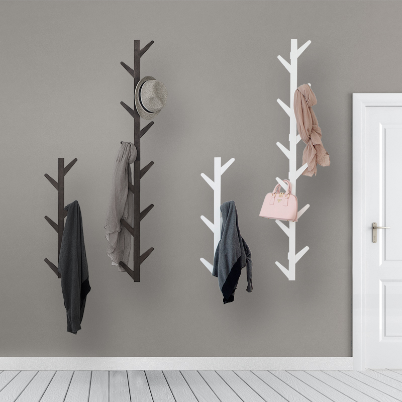 Living Room  Bedroom Decoration Hanger Coat Rack Wall Clothes Hanger Natural Bamboo Tree Branch Wall Storage Shelf 6 Hooks