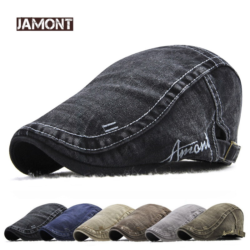 Jamont Mens Vintage Cotton Newsboy Caps Gorras Para Hombre Duckbill Hat Baker Boy Golf Peaked Hats Male Casual Cabbie Ivy Hats(China)