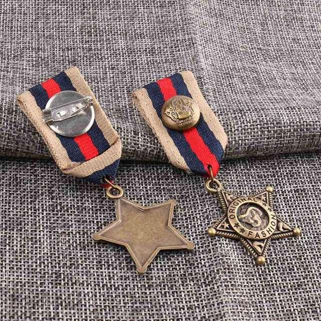 Винтажные ученическая школьная форма аксессуары медаль броши Западный ковбойский стиль булавка брошь мужские медали армейские броши