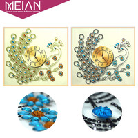 Meian Special Shaped Diamond Embroidery Animal Peacock Clock 5D DIY Diamond Painting Cross Stitch 3D Diamond