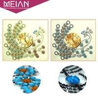 Meian Special Shaped Diamond Embroidery Animal Peacock Clock 5D DIY Diamond Painting Cross Stitch 3D Diamond