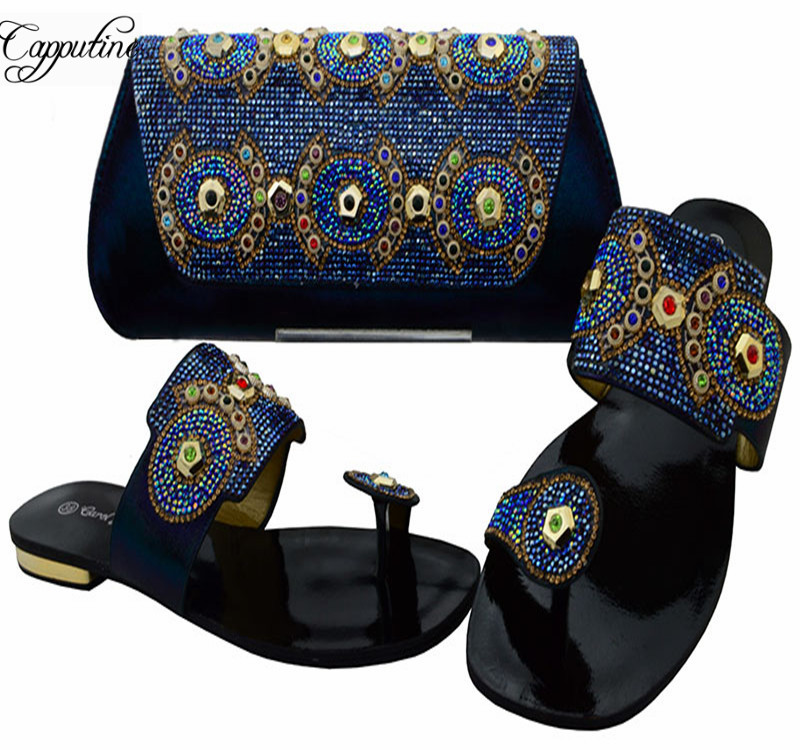 Capputine African Style Woman Slipper Shoes And Bags Set New Italian Low Heels Shoes And Bag Set For Party Wholesale BCH-37 cleopatra and rome