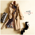 European Women's New Autumn Winter 2016 Classic Khaki Double Breasted Coat Slim Ladies Temperament Trench