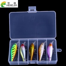5pcs/box Fishing Lures Set 8cm 7.5g Minnow Artificial Fishing Baits Kit With 6# Treble Hook Box Package HJ099 Free Shipping