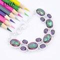 Enya holiday gift charme rainbow místico topázio sintético pulseira de prata quente banhado a pulseira para as mulheres de jóias