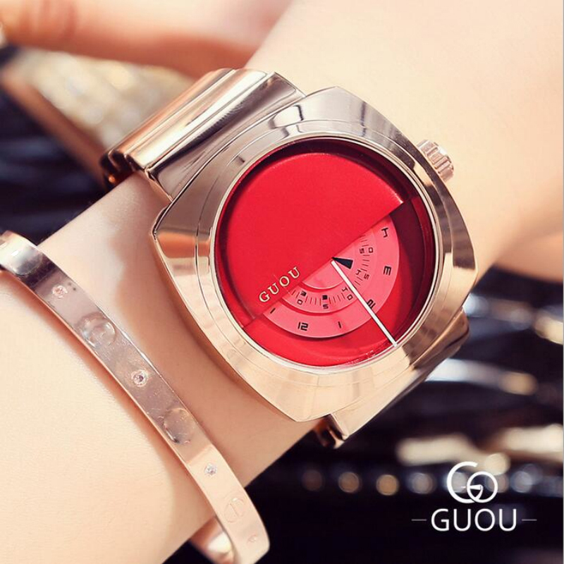 GUOU Exquisite Watches Women Rose Gold Full Steel Watch Turntable Quartz Watch Ladies Wrist Watch Luxury clock relogio feminino guou official brand diamond wrist watches fashion pendant women luxury rose gold watch full steel clock relogio feminino gifts