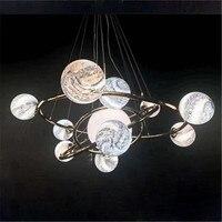 Modern Earth Pendant Lights Glass Planet LED Glass Pendant Lamps For Restaurant Hotel Bedroom Living Room Pendant Lighting B196