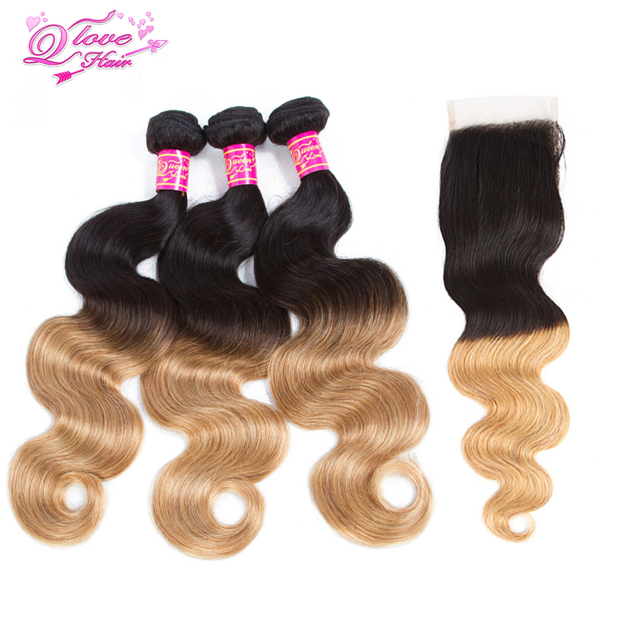Queen Love Hair 3 Bundles With Closure Indian Hair Ombre 1B/27 Hair 3Bundles With Lace Closure Body Wave Non Remy Human Hair
