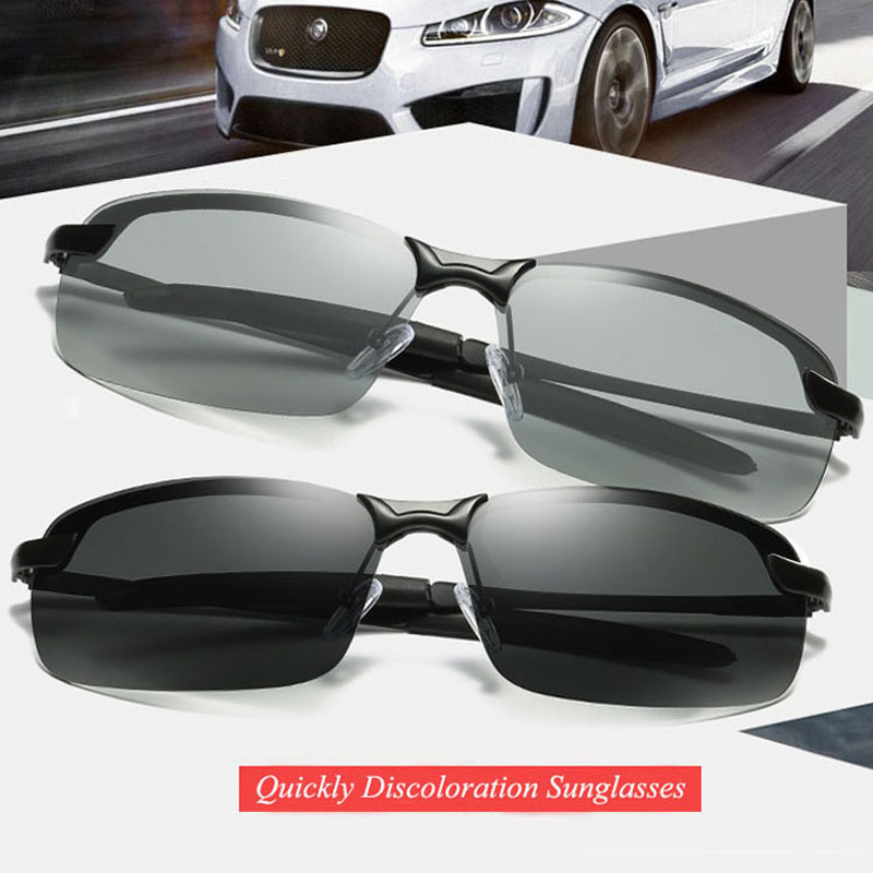 RoShari New photochromic Sunglasses men top quality All-weather Discoloration Professional driving Sun glasses men eyeglasses