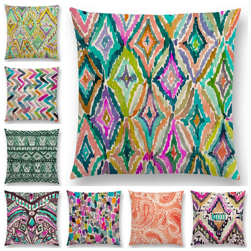 New Design Watercolor Candy Chevron Waves Cushion Cover Coral Camo Stripe Paisley Geometry Pattern Moroccan Pillowcase