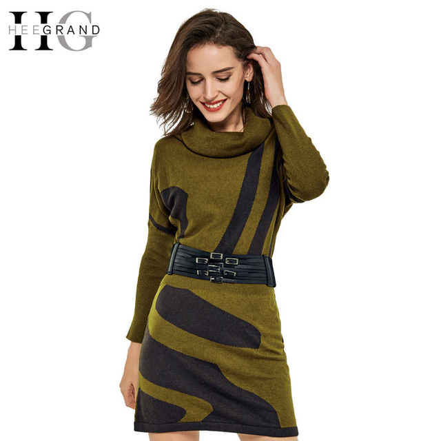 HEE GRAND 2017 Spring Women Knitted Dress Batwing Sleeve Sexy Long Turtleneck Striped Casual Loose Vestidos With Sashes WQL3344