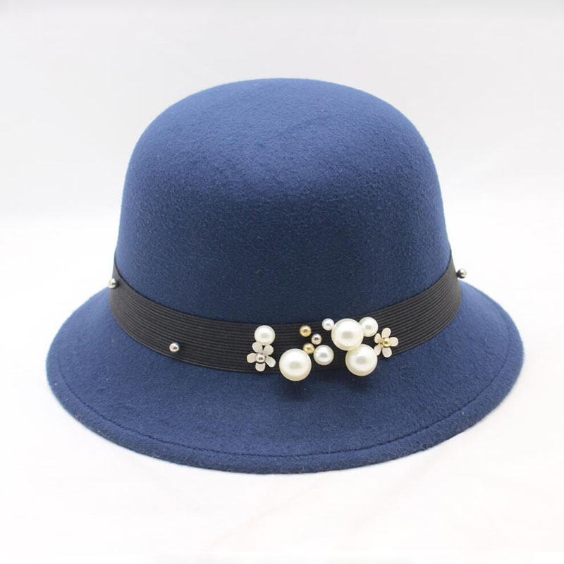 967e03265e928 Elegant Women Hat Ladies Retro Pearl Winter Hat Wide Brim Solid Wo Felt  Bowler Hat for Women Floppy Cloche Hats Female