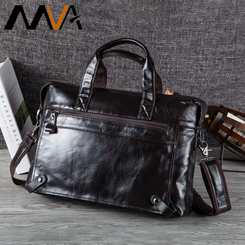MVA Bag Male Genuine Leather Crossbody Bags for Men Leather Laptop Messenger Bags Men's Shoulder Bag Business Briefcases Laptop augus 100% genuine leather laptop bag fashional and classic crossbody bags leather for men large capacity leather bag 7185a