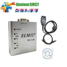 10 unids/lote DHL Envío De Aluminio ELM327 USB DEL Metal ELM327 Interfaz de Diagnóstico Auto OBD2 OBDII V1.5 CAN-BUS Escáner ELM 327