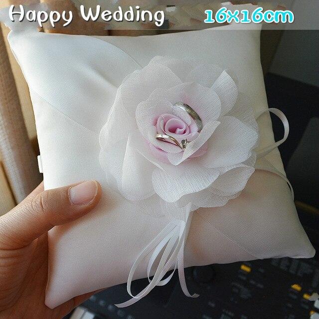 2017 Newest Vintage Design Pink Flower Wedding Ring Pillow The Bride