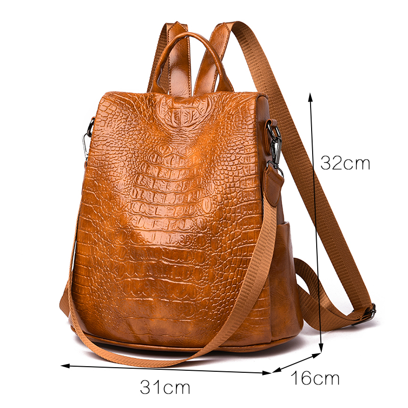 Image 4 - Alligator PU Leather Women Backpack Anti Theft Casual School Backpack For Teenager Girls Large Capacity Multifunction Backpack-in Backpacks from Luggage & Bags