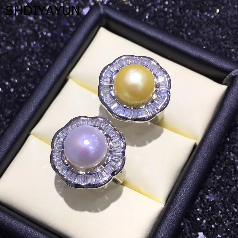 SHDIYAYUN Fine Pearl Ring Natural Freshwater Pearl 925 Sterling Silver Big Round Ring Jewelry For Women Drop Shipping CrystalSHDIYAYUN Fine Pearl Ring Natural Freshwater Pearl 925 Sterling Silver Big Round Ring Jewelry For Women Drop Shipping Crystal