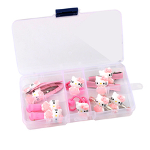 10pcs/box Hello Kitty Hair Accessories Set For Kids Girls Elastic Bands Ties Snap Clips BB Barrettes