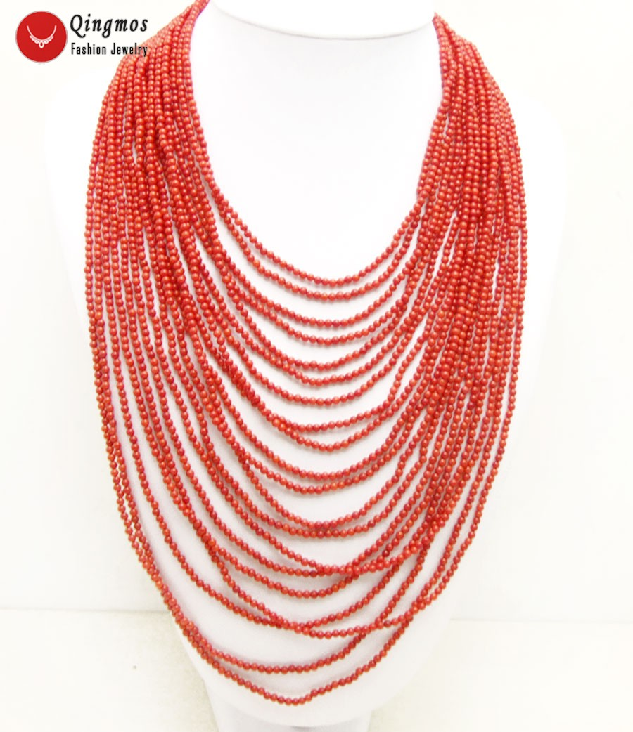 Qingmos Trendy 20 Strands Coral Necklace for Women with 3-4mm Round Natural Red Coral 18-27 Necklace -nec5769 Free Shipping natural red coral with silk knot design necklace