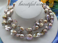 Z3559 длинные 32 25 мм природа многоцветный Кеши Возрожденные жемчужное ожерелье