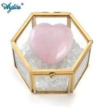 Ayliss jolie boîte à bijoux décorative avec couvercle en verre transparent, Terrarium, bracelets, colliers, boucles doreilles, bagues, organisateur dexposition de bijoux