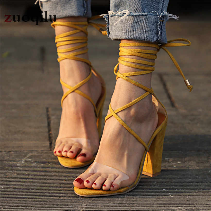 Vrouwen Pompen 2019 Vrouwen Hak Sandalen Vrouwen Lace Up Transparante Schoenen Zomer Enkelbandje Hoge Hakken Vrouwelijke Dikke Naakt Schoenen