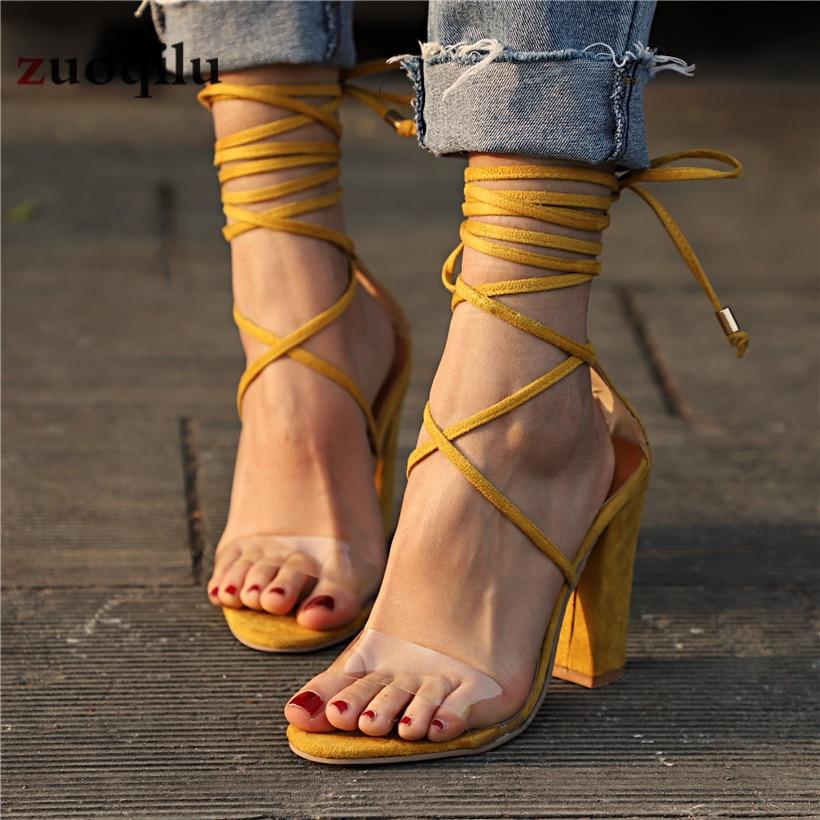 Women Pumps 2019 Women Heel Sandals Women Lace Up Transparent Shoes Summer Ankle Strap High Heels Female Thick Nude ShoesWomen Pumps 2019 Women Heel Sandals Women Lace Up Transparent Shoes Summer Ankle Strap High Heels Female Thick Nude Shoes