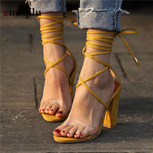 Women Pumps 2019 Women Heel Sandals Women Lace Up Transparent Shoes Summer Ankle Strap High Heels Female Thick Nude Shoes(China)