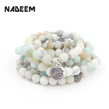 NADEEM Fashion Women Men's Matte Amazonite Stone 108 Mala Beads Bracelet Necklace Lotus Buddha OM Charm Strand Yogi Bracelet