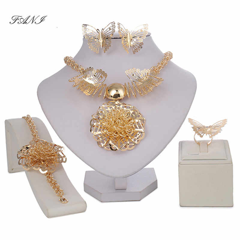 Fani Fashion Dubai Flower Gold Color Jewelry Set African Beads Vintage Women Wedding accessories jewelry set Statement Big Style