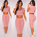 2016 autumn summer 2piece set women long sleeve crop top and long pants sets sexy ensemble femme vestidos hooded cotton pink