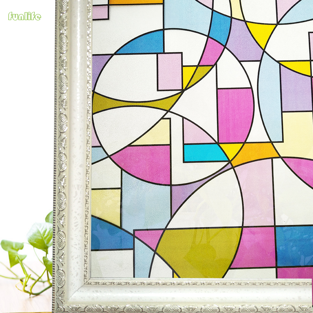 Circles 3D colored Glass Decorative film Non-Adhesive frosted Privacy Window Film 17.7 by 78.7 inch(45*200 cm)