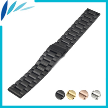 цена на Stainless Steel Watch Band 22mm for Samsung Gear 2 R380 / R381 / R382 Folding Clasp Strap Quick Release Loop Belt Bracelet Black
