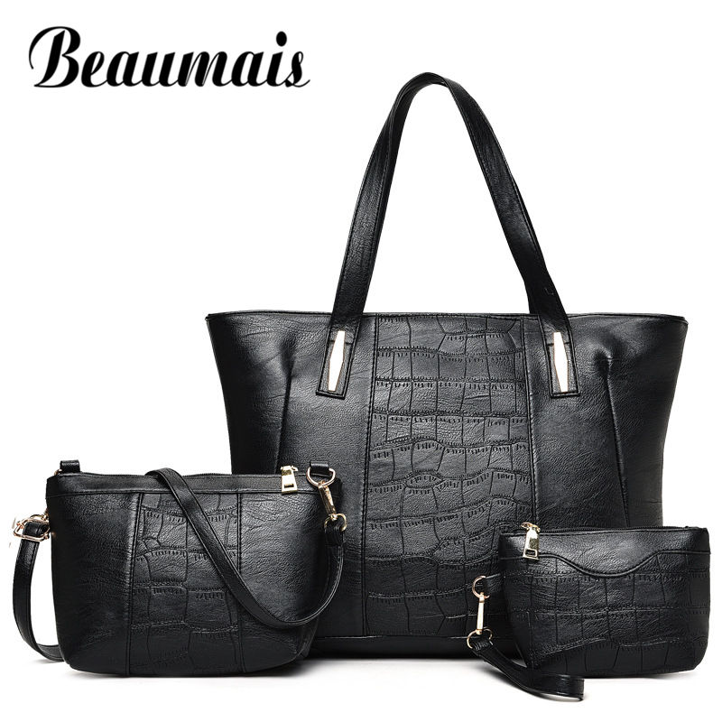 Beaumais 2017 New Bag Sets Women Fashion Soft Leather Shoulder Bag Simple Big Bag Tote Crossbody Bag Female Clutch 3pcs DF0113