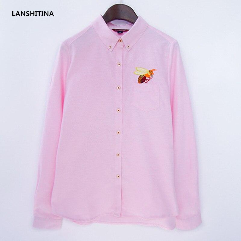 New Arrived Women Cute Embroidery Long Sleeve Blouse Shirt High Fashion Women Turn-down Collar Shirt