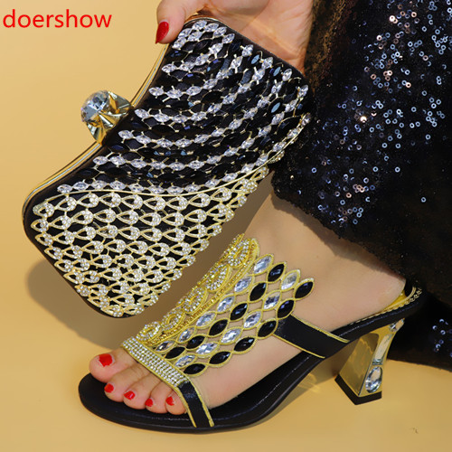 Italian-Shoes Matching-Bags Doershow BLACK African Parties Women with And Bag-Set