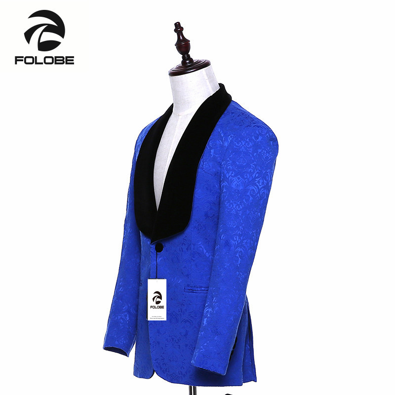 Chaqueta para hombre de marca nueva, chaqueta de traje azul real ajustada, estilo inglés, abrigo terno masculino, Blazer de talla grande M19 - 4