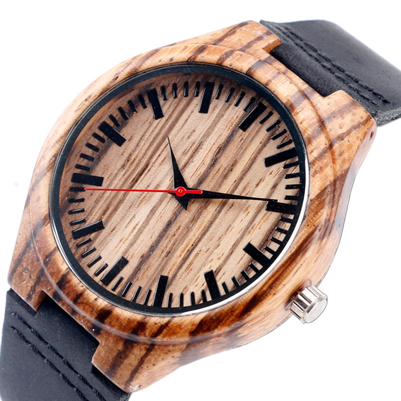 Bamboo Hot Men New Arrival Genuine Leather Band Strap Sport Women Analog Wrist Watch Fashion Creative