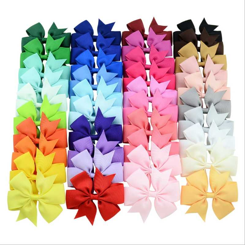 40Pcs 40 Colors Solid Grosgrain Ribbon Bows Clips Hairpin Girl's hair bows Boutique Hair Clip Headware Kids Hair Accessories 564