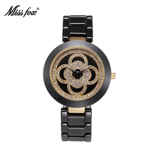 Bulk Miss Fox-T004 Clover Ceramic Watch Women Rhinestone Dress Women's Gold Watch Fashion Wrist Watch