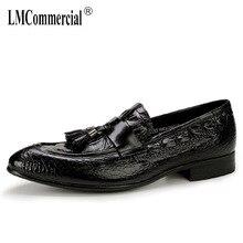 купить British pointy shoes mens leather crocodile pattern tassel business casual men shoes all-match cowhide Men Dress Shoes autumn онлайн