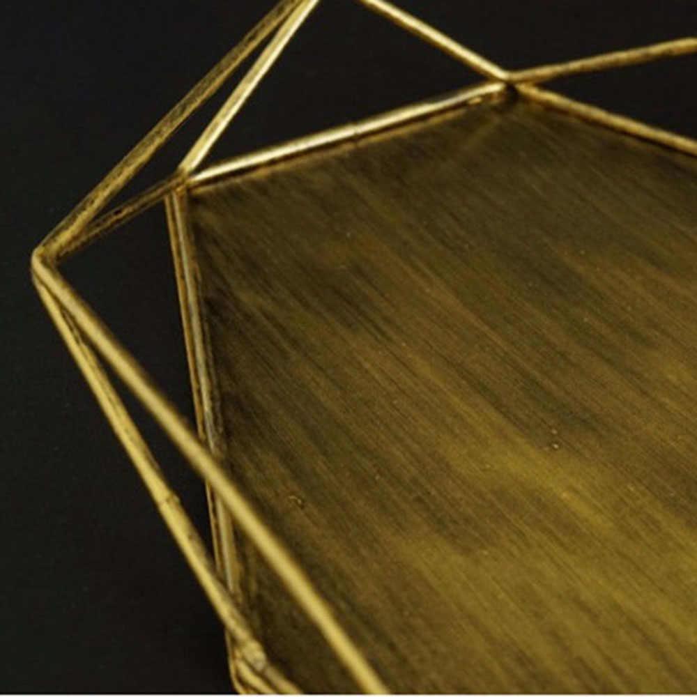 Ins خمر الذهبي مجوهرات لوحة خاتم الفضة القديمة قلادة صينية العرض بسيط سطح المكتب الديكور تخزين المعادن صينية المنظم