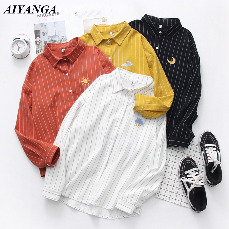 Women Cotton Shirts 2019 Spring New Striped Blouse embroidery Long Sleeve White Blouses Female Shirts Womens Blusas Feminine 1