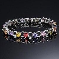 Multicolor/White Rhinestone Women Bracelets - White Gold Color Link Chain 5