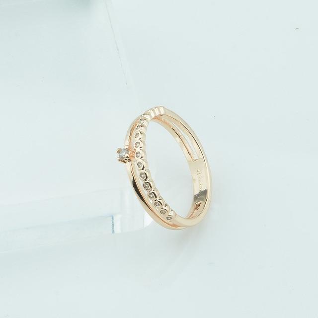 Fj 4mm Breite Smart Frauen 585 Gold Farbe Doppel Runde Ringe Weiss
