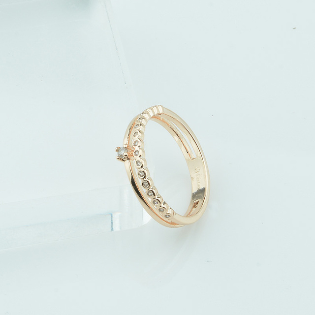 FJ 4mm Wide Smart Women 585 Gold Color Double Round Rings White ...