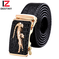 DESTINY Designer Belts Men High Quality Male Genuine Leather Strap Luxury Famous Brand Logo Crocodile Silver