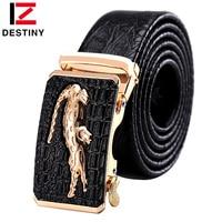 DESTINY Designer Belts Men High Quality Male Genuine Leather Strap Luxury Famous Brand Logo Crocodile Silver