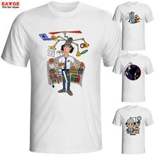 EATGE Exclusive White Printed T shirt Funny Short Sleeve O neck Tshirt Classical Anime Inspector