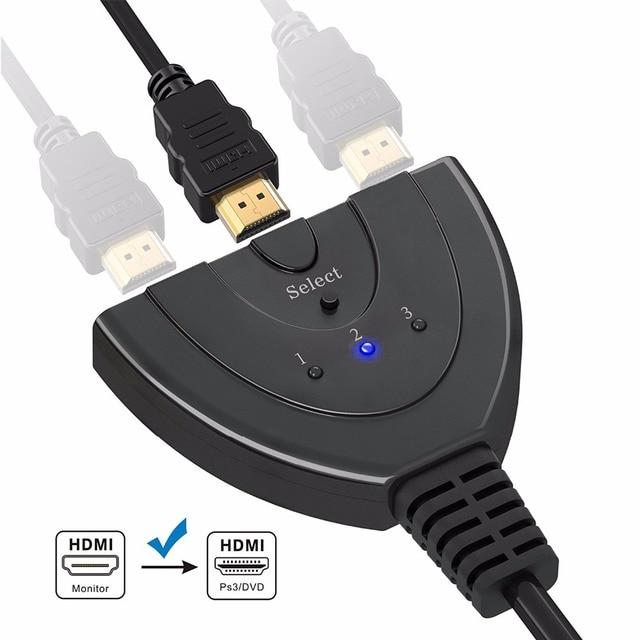 DZLST Разделитель с мультимедийным интерфейсом высокой четкости с разрешением 4 K * 2 K 3 Порты Мини Переключатель HDMI кабель 1.4b 1080 P для DVD HDTV Xbox PS3 PS4 3 в 1 из Порты и разъёмы концентратор HDMI переключатель с пультом дистанционного управления